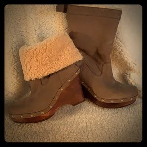 UGG Leather Wood Wedge Sheepskin Lined Boots